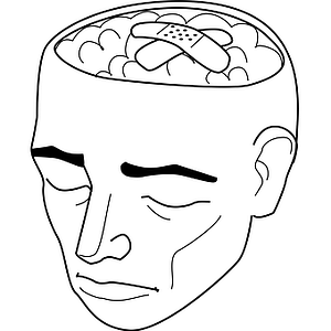 icon of a man suffering from brain damage