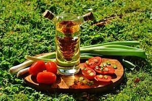natural oil with veggies