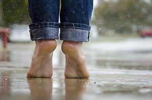 bare feet on the rain